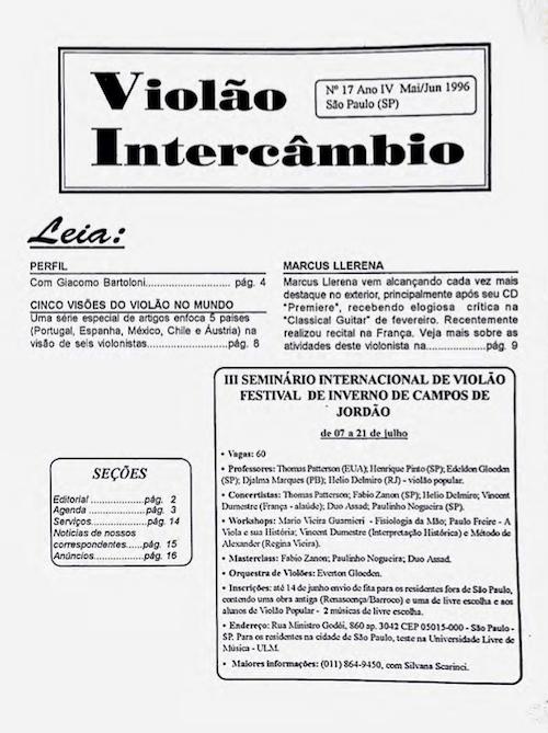 Revista Violão Intercâmbio - n 17 ano IV - mai/jun 1996