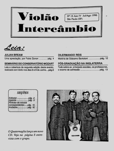Revista Violão Intercâmbio - n 18 ano IV - jul/ago 1996