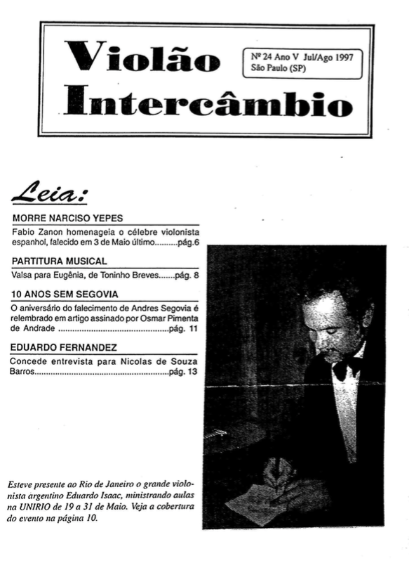 Revista Violão Intercâmbio - n 24 ano V - jul/ago 1997