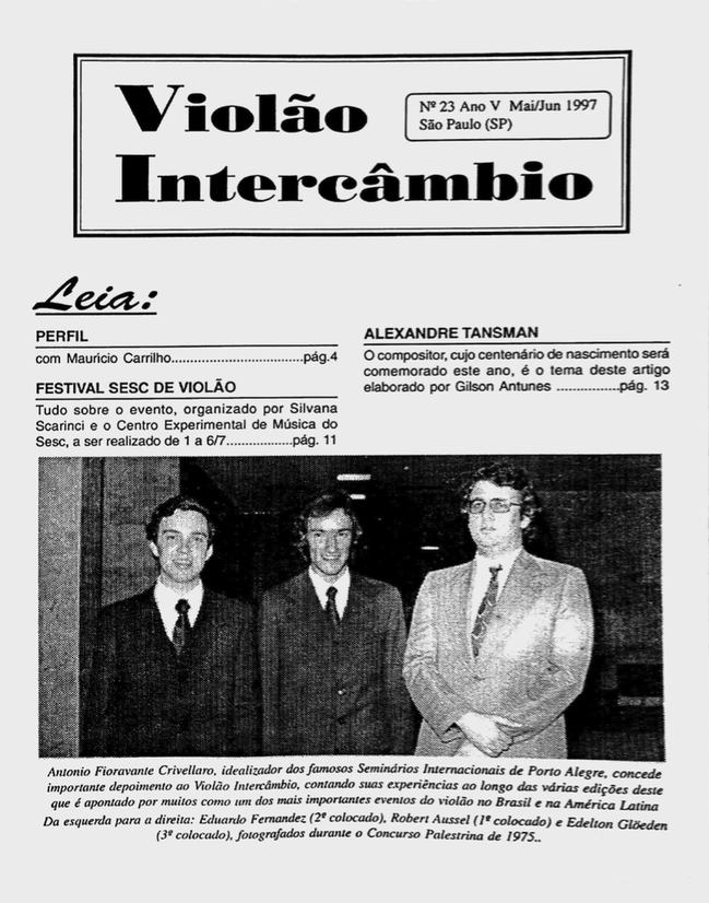Revista Violão Intercâmbio - n 23 ano V - mai/jun 1997