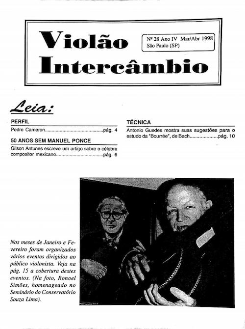 Revista Violão Interâmbio - n 28 ano VI mar/abr 1998