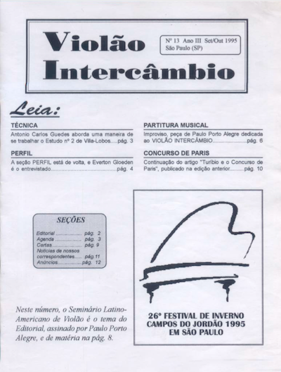 Revista Violão Intercâmbio - n 13 ano III - set/out 1995