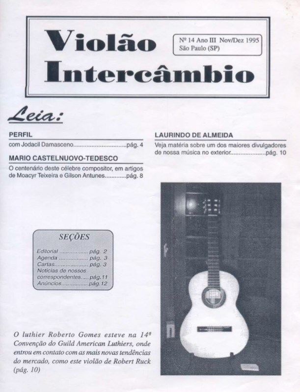 Revista Violão Intercâmbio - n 14 ano III - nov/dez 1995