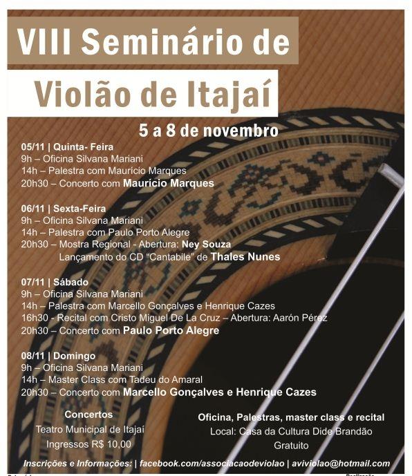 VIII Seminário de Violão de Itajaí começa nesta quinta (05)