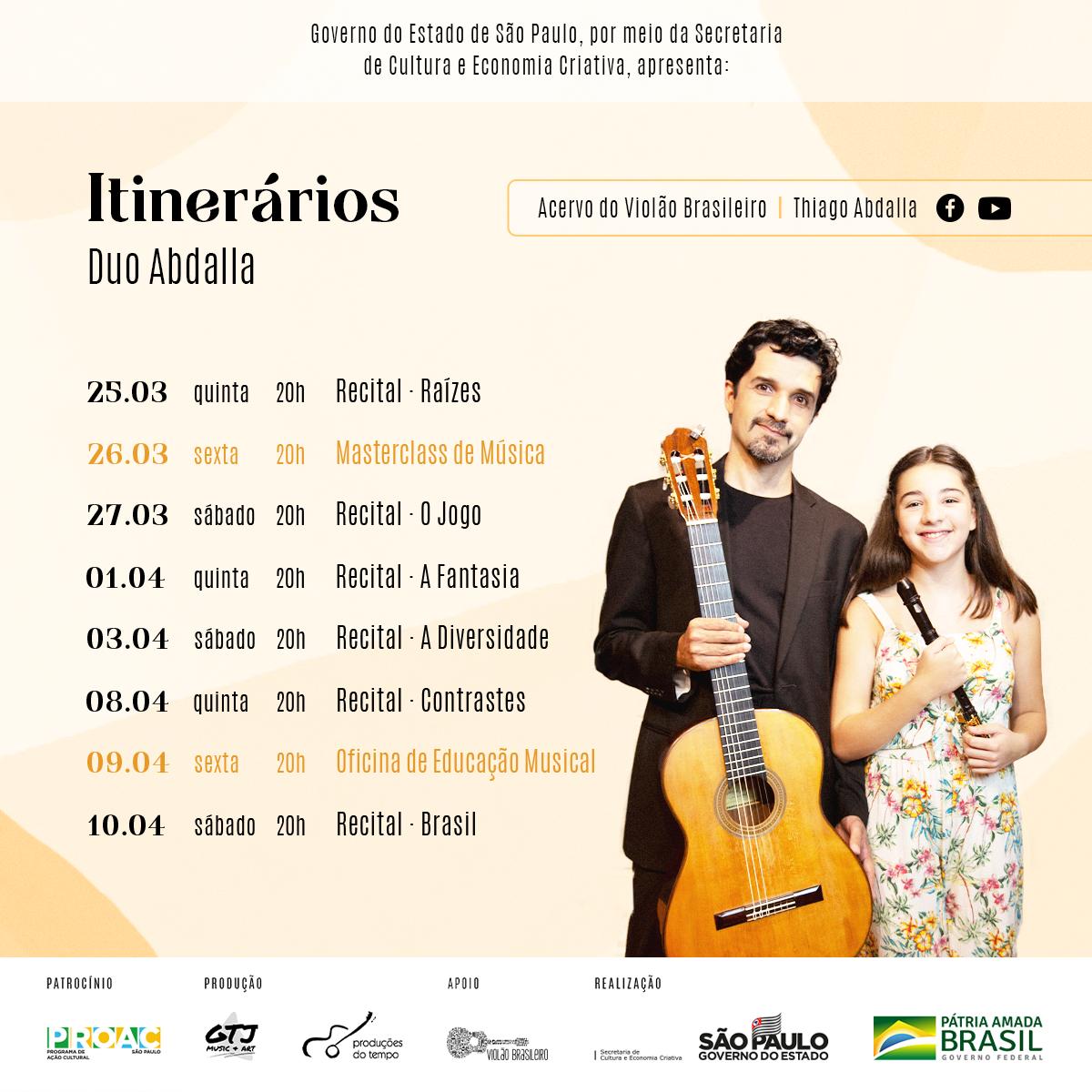 Duo Abdalla estreia a série Itinerários, com recitais online e masterclass de violão e flauta - banner divulgação