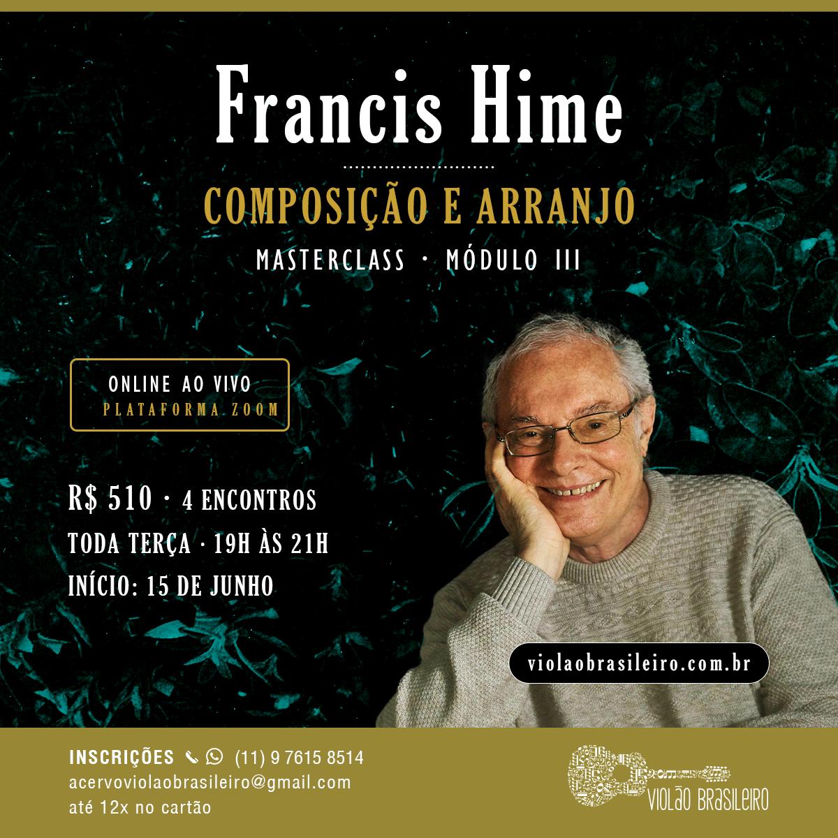 Francis Hime abre novo curso sobre suas composições, arranjos e histórias musicais - banner curso