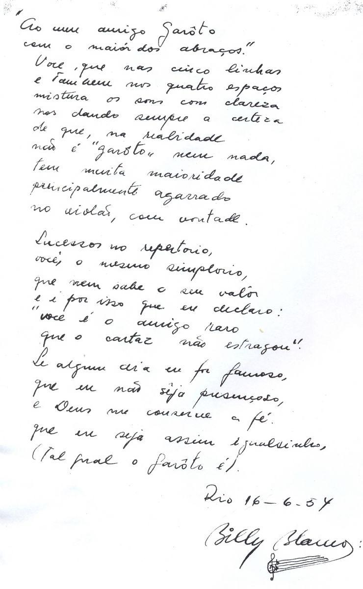 Documentos raros sobre Garoto e história da música Chora Fafá são revelados pelo Acervo do Violão - versos Billy Blanco