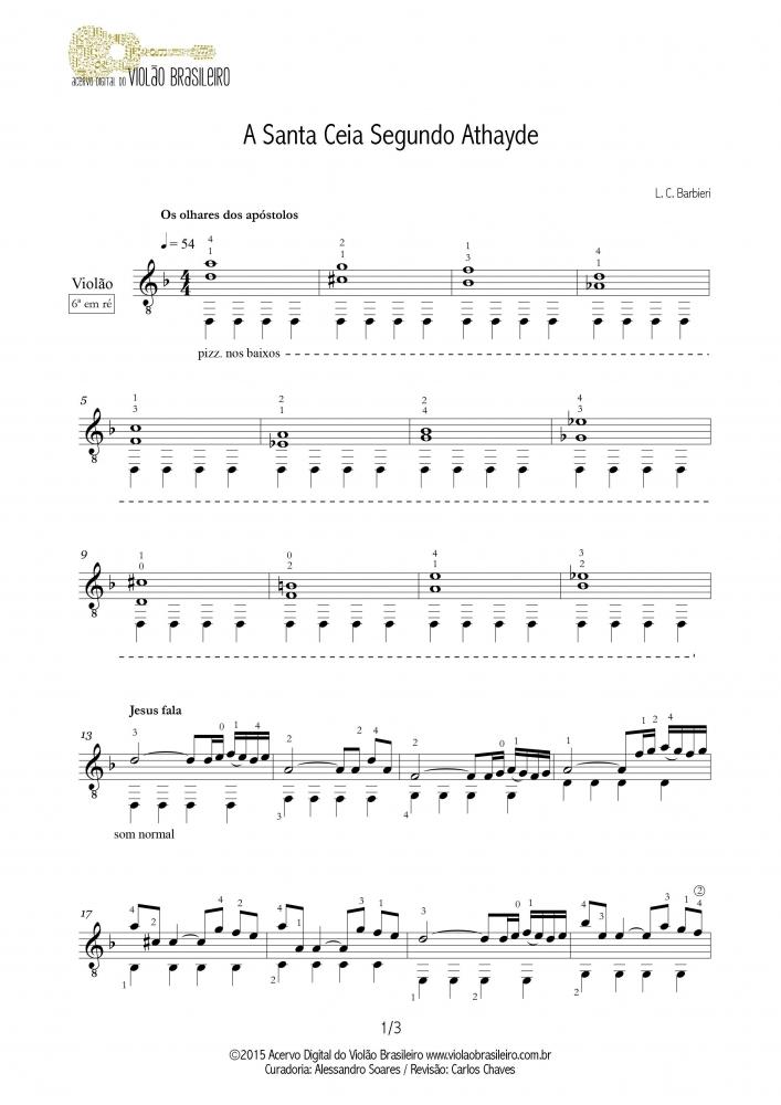 A Santa Ceia Segundo Athayde (Luís Carlos Barbieri) - violão solo