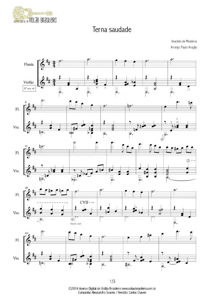 Terna Saudade (Anacleto de Medeiros) violão e flauta