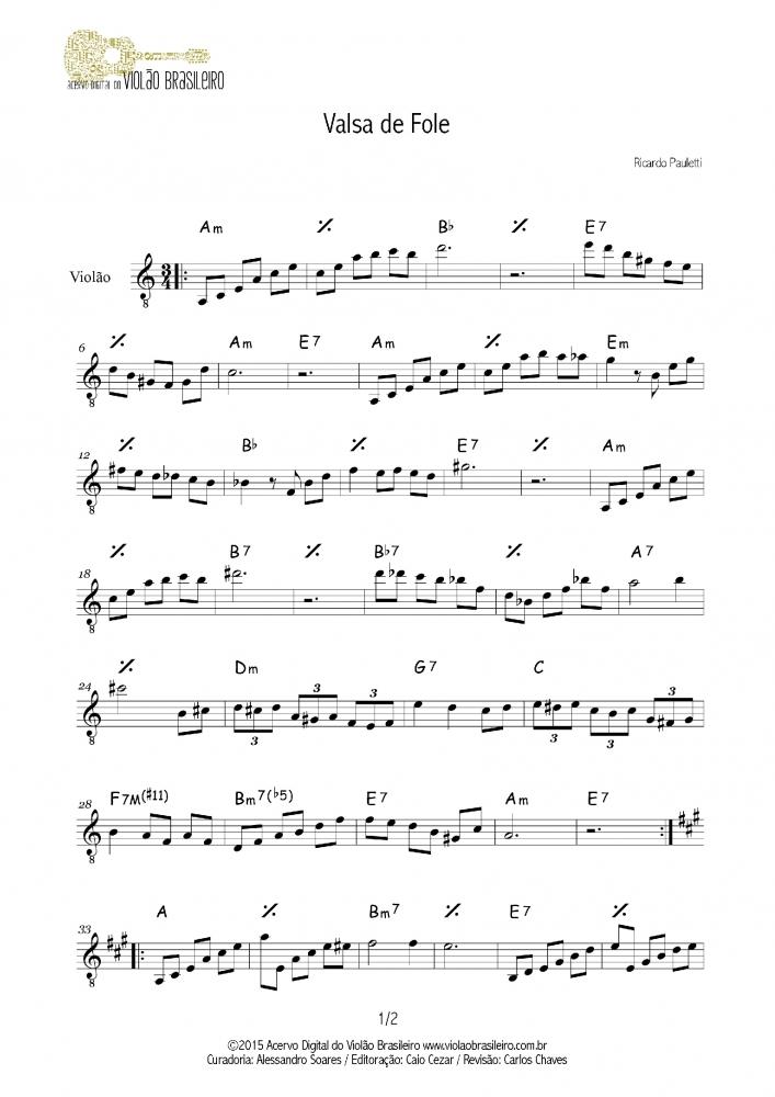 Valsa de Fole (Ricardo Pauletti) - melodia e cifra