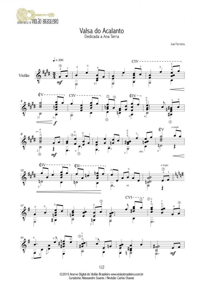 Valsa do Acalanto (Jow Ferreira) - violão solo